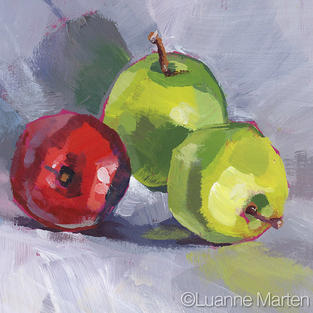 original acrylic painting of green and red apples by Luanne Marten