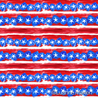 Stars and stripes red white blue pattern by Luanne Marten