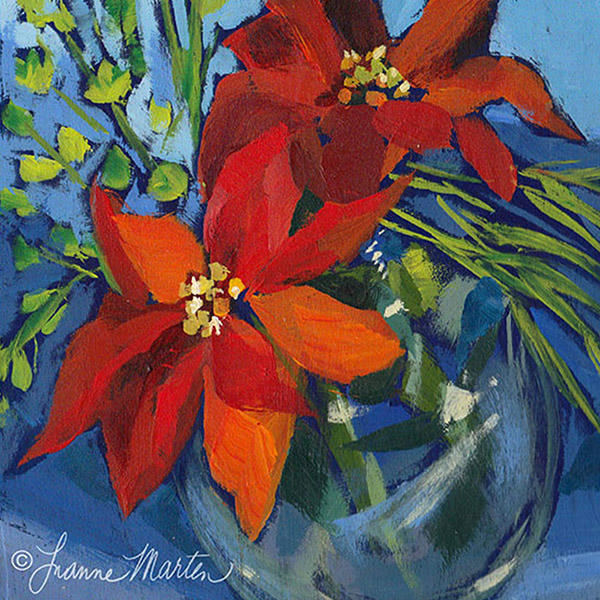 Red poinsettia on blues acrylic painting, loose style