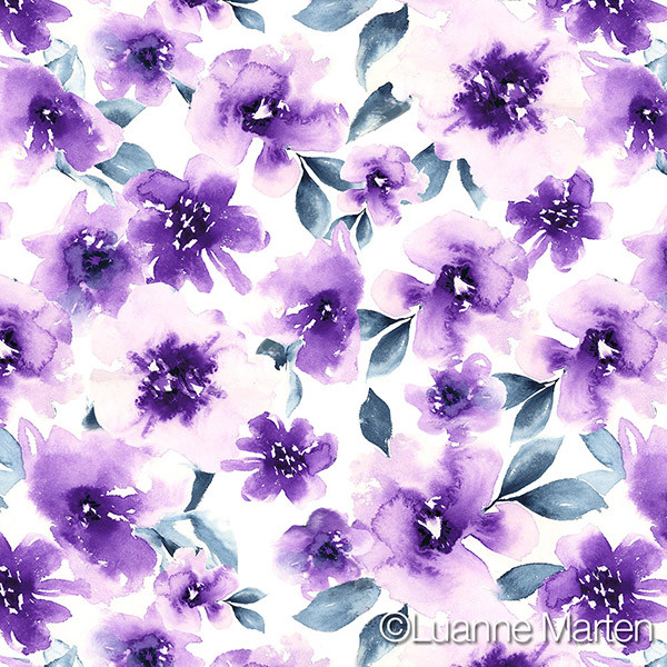 Purple loose watercolor floral by Luanne Marten