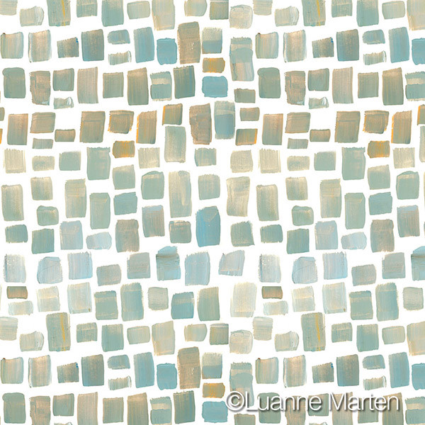 Handpainted Squares pattern in blues, golds, gray, repeat pattern