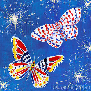 red white blue butterflies with sparklers, fourth of July painting by Luanne Marten