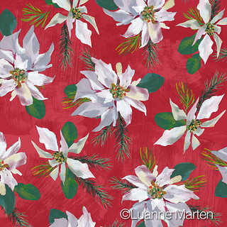 White poinsettia pattern on red, acrylic painting surface design by Luanne Marten