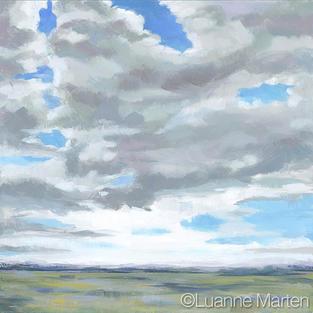 Big sky clouds painting, 3/4 sky landscape