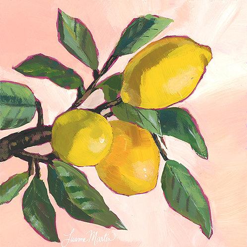 Blushing Lemons, high quality art print