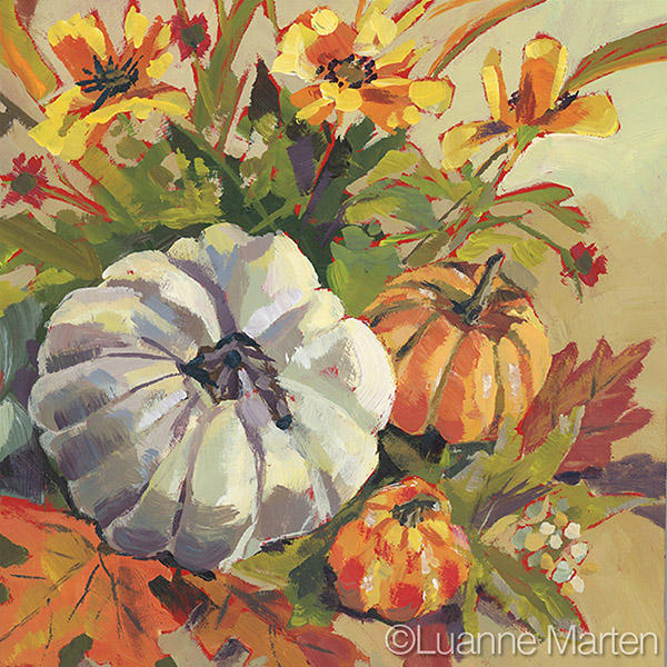 white pumpkin and floral still life painting, leaves, flowers, berries