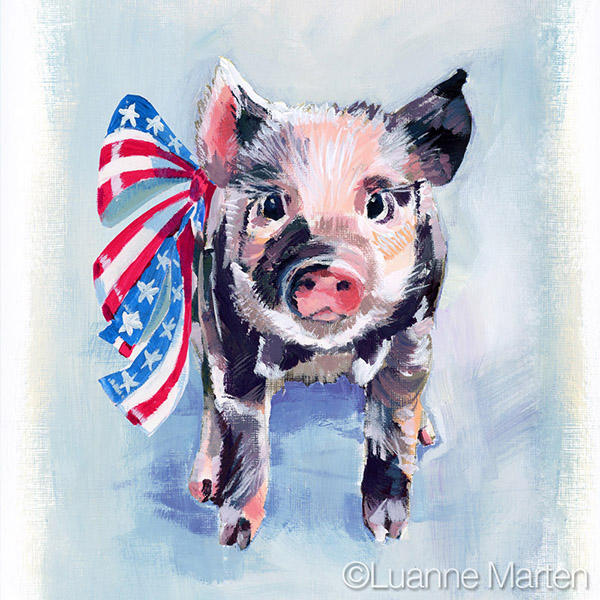 Patriotic Piglet acrylic painting with stars and stripes ribbon