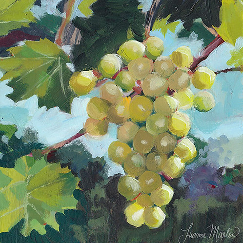 Hanging Out, green grapes high quality art print