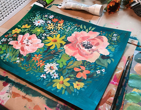 studio image of teal and blush pink floral pattern design, original acrylic painting