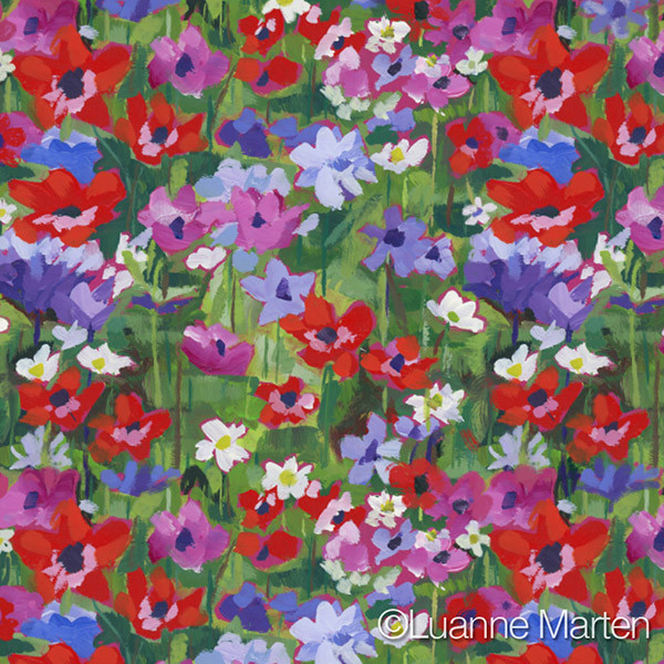 Red purples greens floral repeat pattern, anemone flowers by Luanne Marten