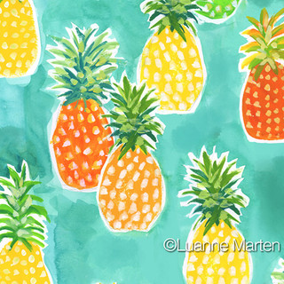 Orange and yellow pineapple pattern handpainted watercolor by Luanne Marten