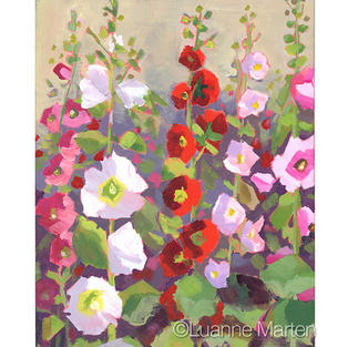 white, pink, red, rose hollyhock acrylic painting