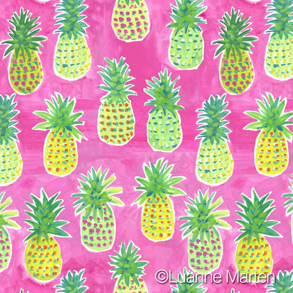 surface pattern design, handpainted yellow & green pineapples on hot pink