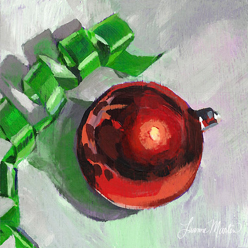 Keep Celebrating, christmas ornament ribbon high quality art print