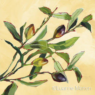 Original acrylic painting, olives on a branch,leaves, cream ground