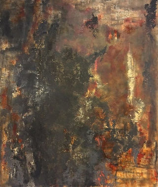 Corrosion In progress ~ a dark textured heavily layered  painting . Based on my love of rust & textu