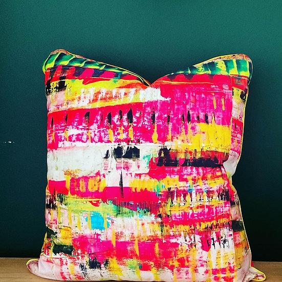 velvet cushion. neon dreams design