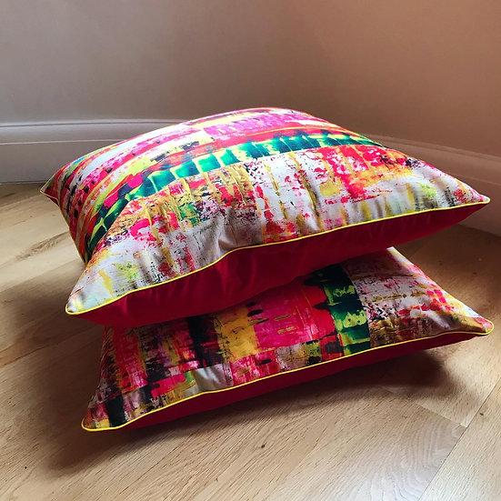 red velvet cushion. neon dreams design