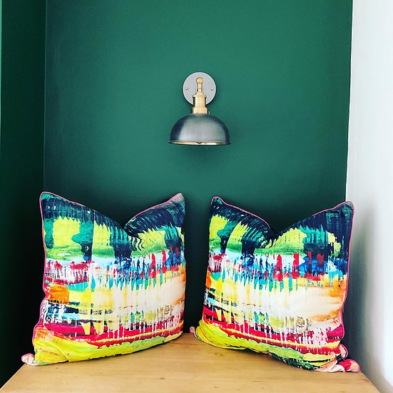 Bold velvet cushion