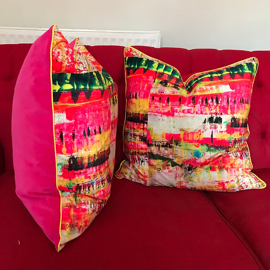 Pink velvet cushion. neon dreams design