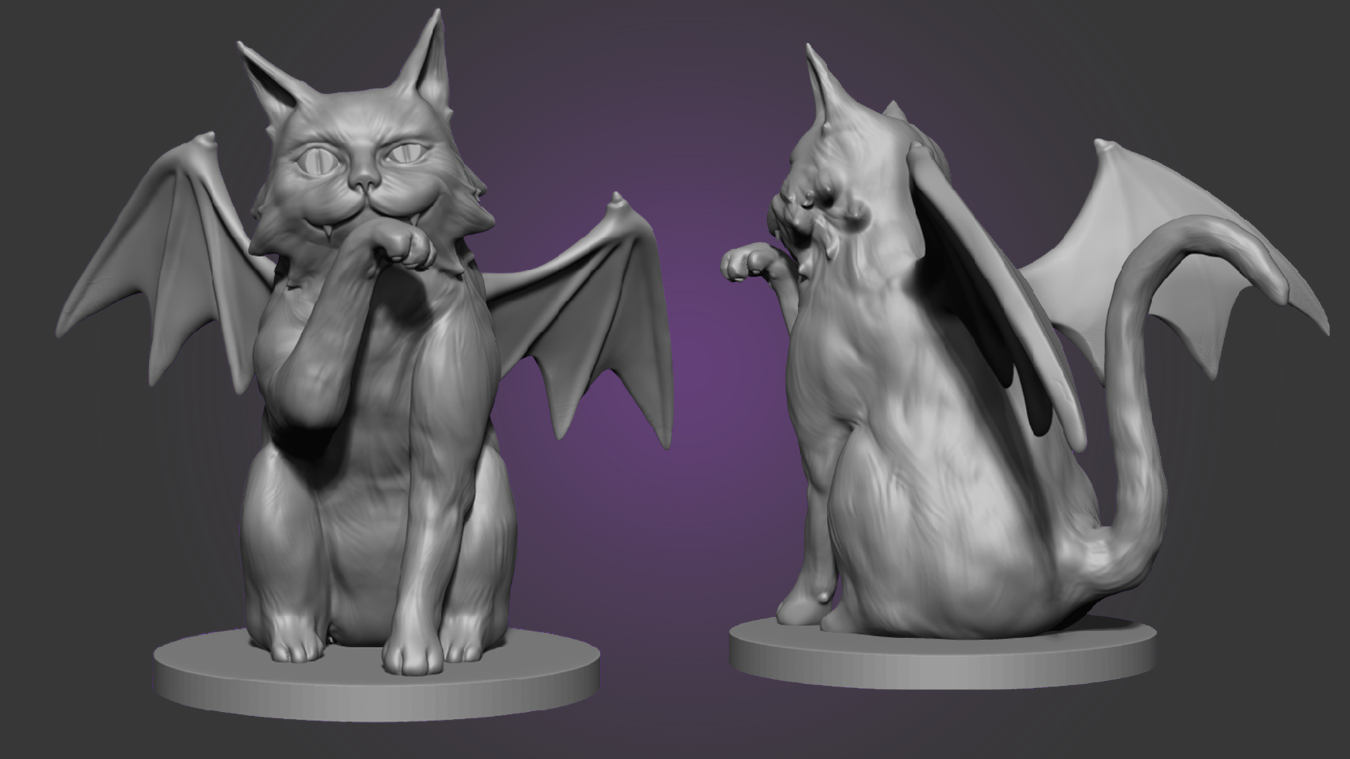 High-res sculpting (front & back 3/4 views)