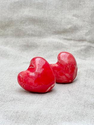 Boutons cœurs - Rouge