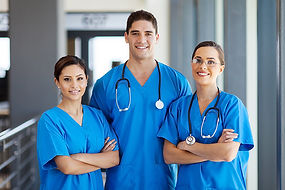 Group of young hospital workers or nurse