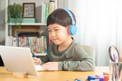 Portrait of a smart asian student boy ha