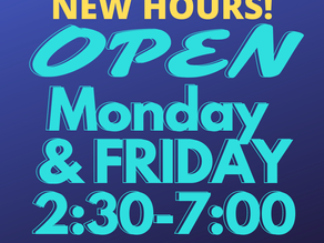 GFPL Now Open Monday AND Friday