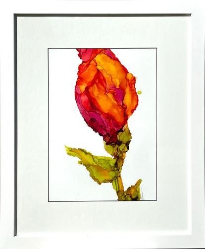 Blooms of Scarlet II framed