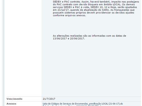 Alteração das faixas de CEP para precificação LOCAL/DIVISA, referente à Política Comercial .