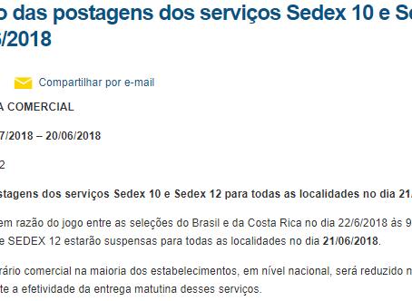 Suspensão das postagens dos serviços Sedex 10 e Sedex 12 no dia 21/06/2018
