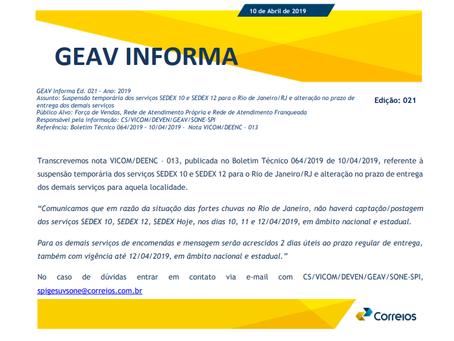 Suspensão temporária dos serviços SEDEX 10 e SEDEX 12 para o Rio de Janeiro/RJ e alteração no prazo