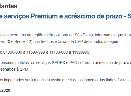 Suspensão de serviços Premium e acréscimo de prazo - São Paulo