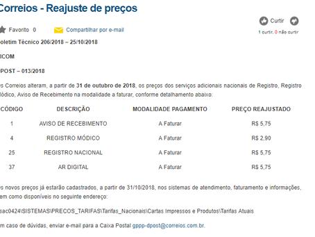 Reajuste dos serviços adicionais nacionais a faturar : 31/10