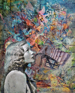 portrait collage, mixed media, woman, purple, abstract, found objects, hidden pictures, surreal, art