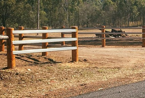 Timber round posts and timber rails