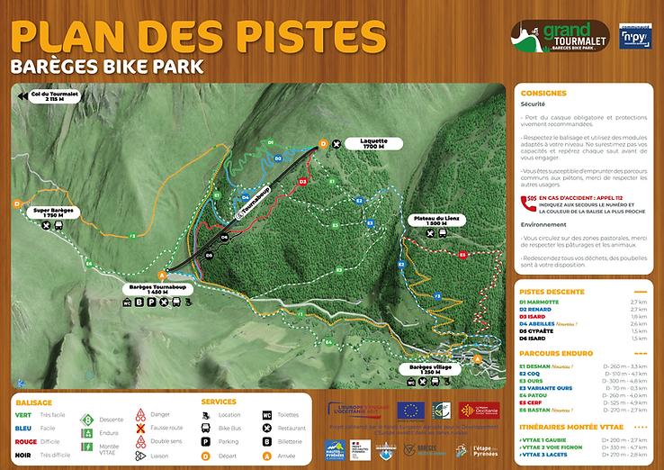 Barèges Bike Park - Plan des Pistes VTT