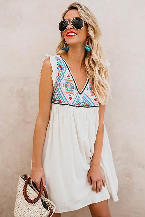 Kea Floral Sleeveless V Neck Mini Dress