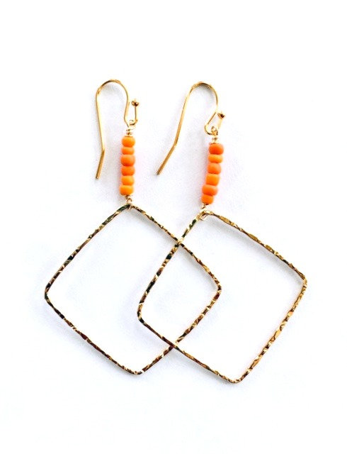 Dia Geometric Coral Earrings