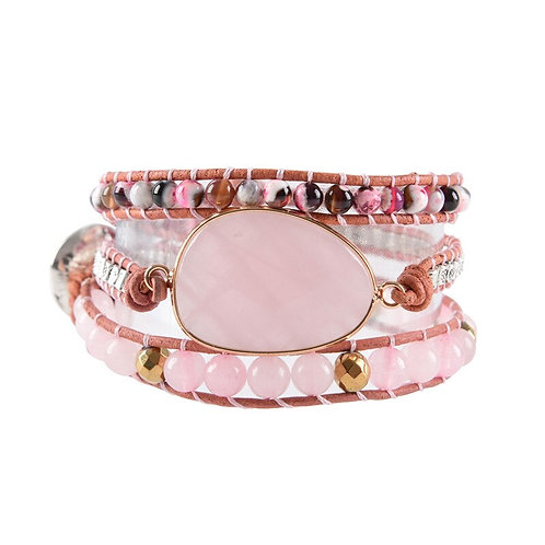 NEW Paula Pink Natural Stone 3 Strand Leather  Wrap Bracelet