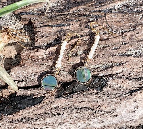 Perra Pearl Abalone 14K Gold Earrings
