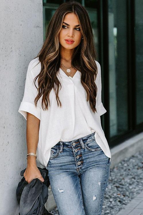 NEW Blanca Short Sleeve Button Solid Shirt