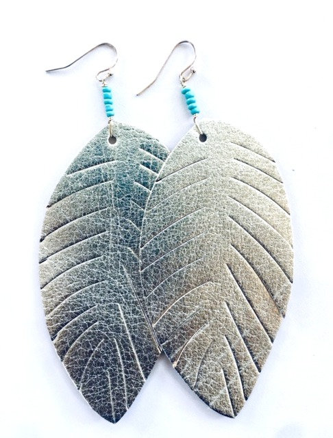 Silvy Leather Leaf Turquoise Earring