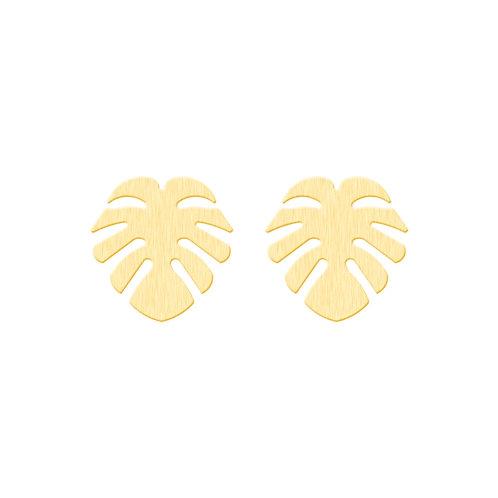 Monstera Tropical Leaf Stud Earrings