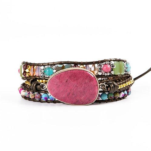 NEW Yasa  Natural Stone 3 Strands Wrap Leather Bracelet