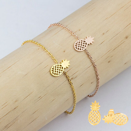 NEW Pineapple Earrings and Bracelets Jewelry Set