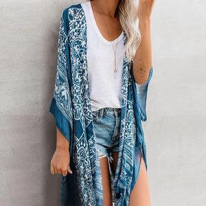 Anja Boho Blue Fringe Kimono