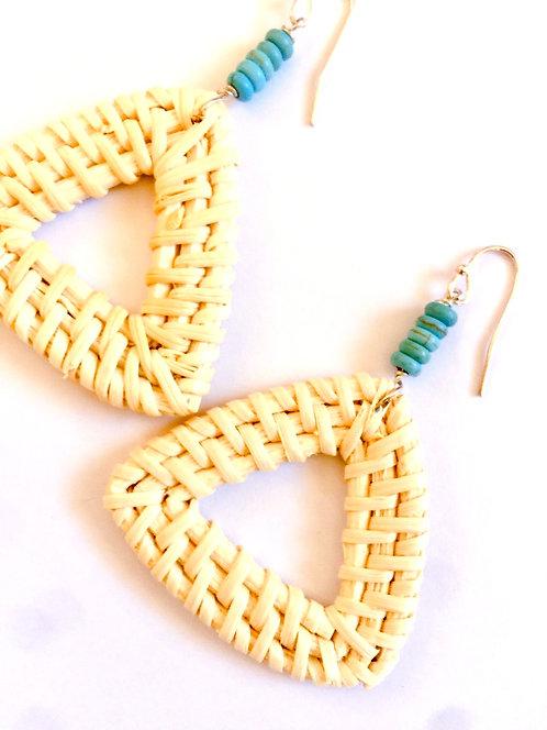 Tria  Boho Turq Rattan Earrings