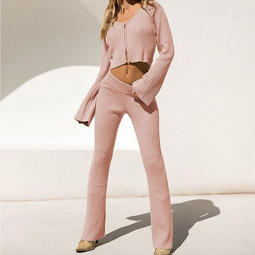 Bryn 2pc Zipper Knit Top and Flare Pants Set